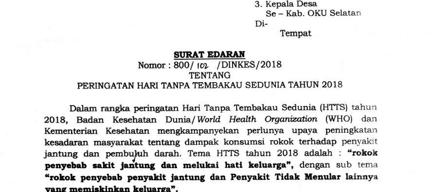 SURAT EDARAN TENTANG PERINGATAN HARI TANPA TEMBAKAU SEDUNIA TAHUN 2018