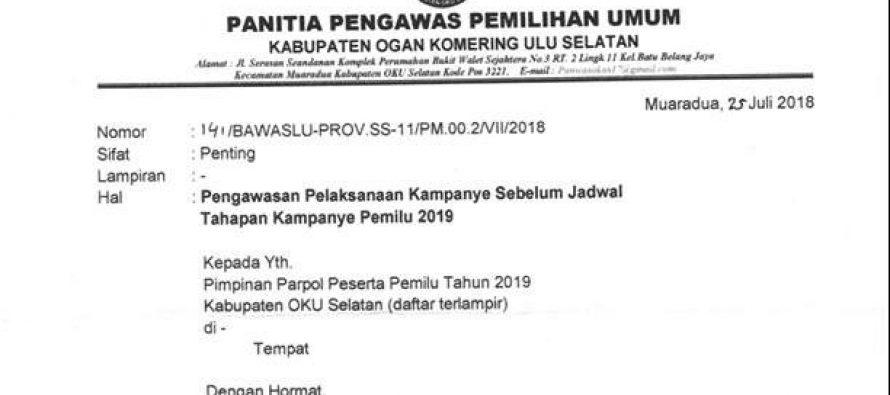 PENGAWASAN PELAKSANAAN KAMPANYE SEBELUM JADWAL TAHAPAN KAMPANYE PEMILU 2019